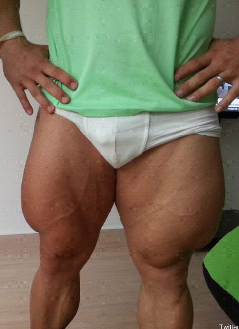 Cyclist Robert Fortsermann and his absurd quads