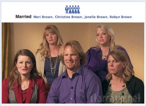 Kody Brown Facebook timeline with polygamy sister wives marriage icons