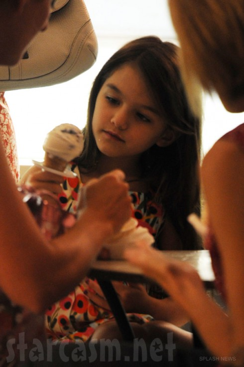 Suri Cruise eating ice cream with mom Katie Holmes after the divorce announcement on July 3 2012