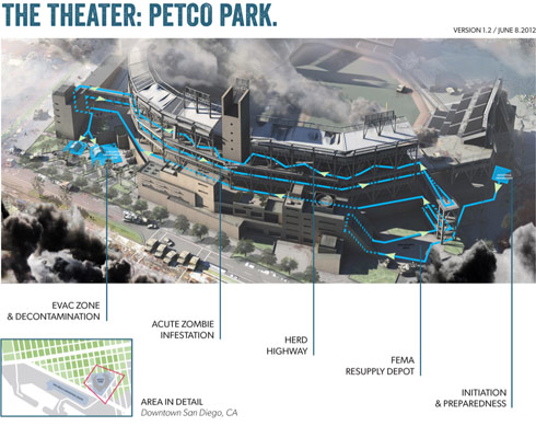 2012 San Diego Comic-Con The Walking Dead Escape map of Petco Park