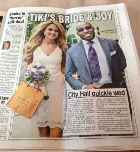 Tiki Barber and Traci Lynn Johnson wedding photo in The New York Post