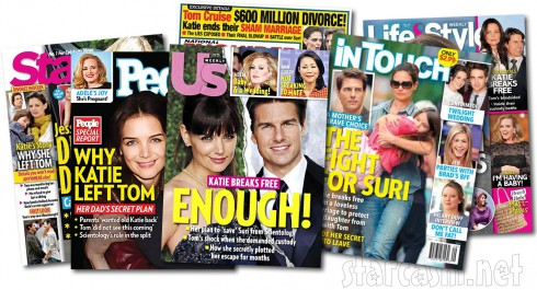 KAtie Holmes Tom Cruise divorce tabloid magazine covers July 16 2012