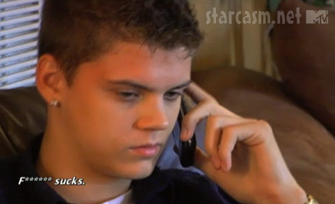 Teen Mom star Tyler Baltierra talking with Catelynn's mom April Baltierra on the phone