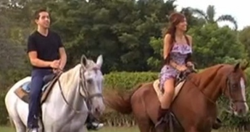 Farrah Abraham and Daniel Alvarez riding horses