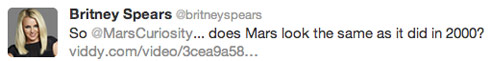 Britney Spears Mars tweet