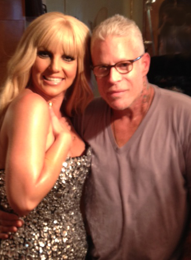 Britney Spears with makeup artist Billy Brasfield while shooting Fantasy Twist ad