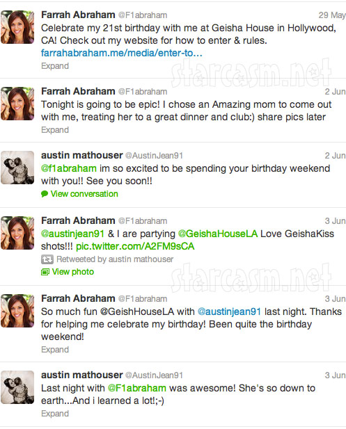 Austin Mathouser and Farrah Abraham tweet about partying together for Farrah's 21st birthday