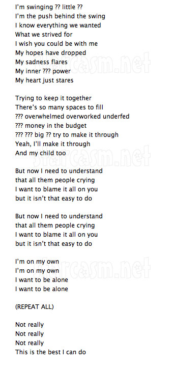 "Lyrics to Farrah Abraham's song ""On My Own"" from the My Teenage Dream Ended soundtrack"