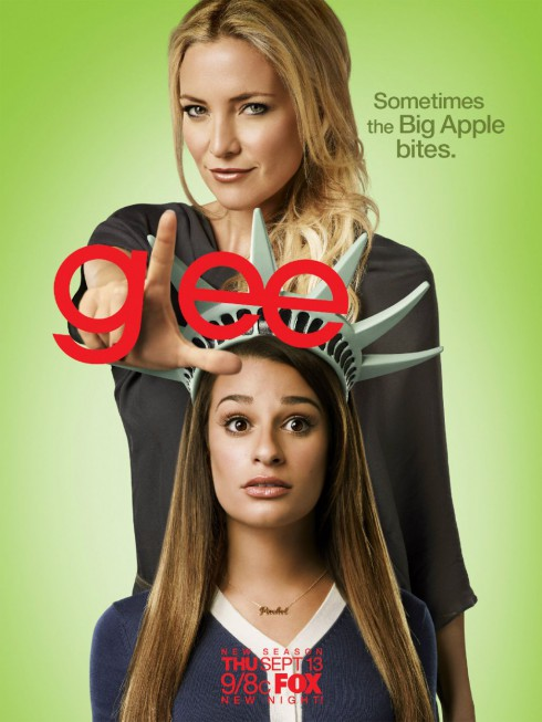 Glee Season 4 Statue of Liberty poster with Rachel Berry Sometimes the Big Apple bites