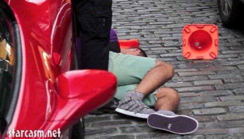 Julien Chabbott lying on the pavement during New York arrest