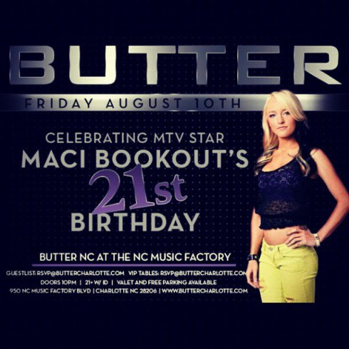 Maci Bookout to host her own 21st birthday party at Butter NC in Charlotte North Carolina