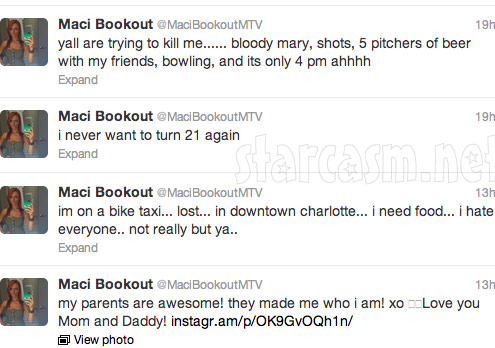 Maci Bookout tweets from her 21st birthday party at Butter NC 1
