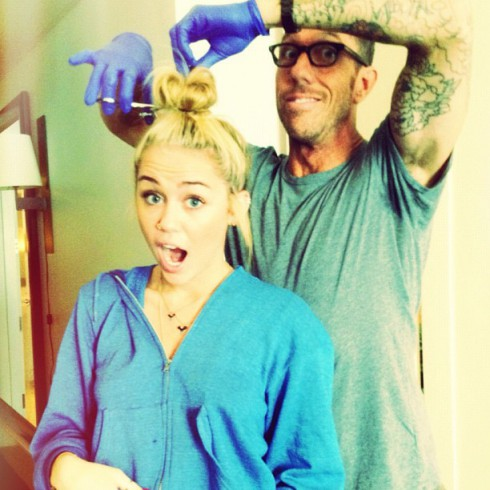 Hair dresser Chris McMillan and Miley Cyrus before her haircut 