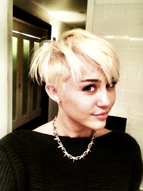 Miley Cyrus with short blonde hair