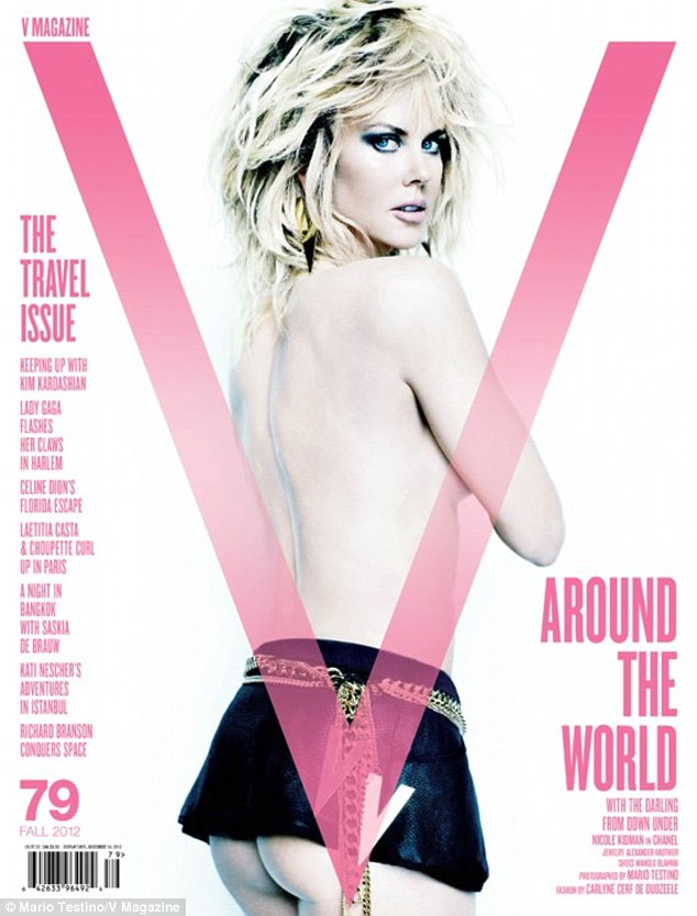 Nicole Kidman's sexy butt on the cover of V