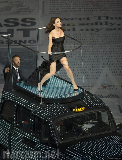 Victoria Beckham performs at the 2012 Olympics closing ceremony with the Spice Girls