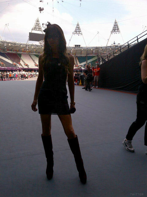 Victoria Beckham backstage photo at the Olympics closing ceremonies