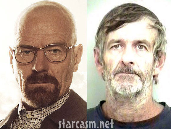 Side-by-side image of TV Walter White and real life Walter White