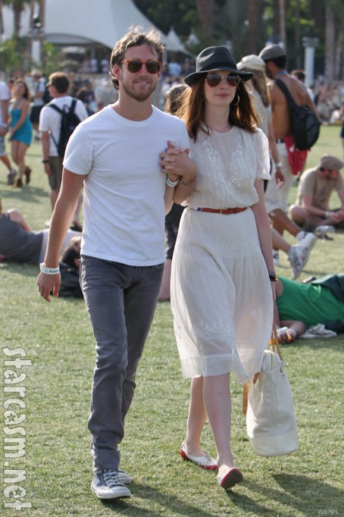 Anne Hathaway and Adam Shulman at Coachella Music Festival 2010
