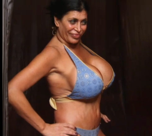 Big Ang stuffs her 36JJ breasts into a bikini for a spray tan.