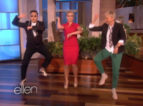 Psy teaches Britney Spears the Gangnam Style horse dance on Ellen