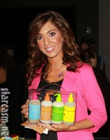 Farrah Abraham with Mixed Chicks hair care products at KIIS gifting suite