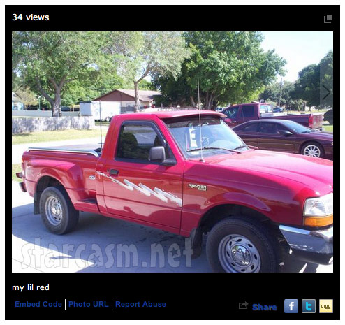 Jeremiah Raber MySpace photo of a pickup truck he captioned my lil red