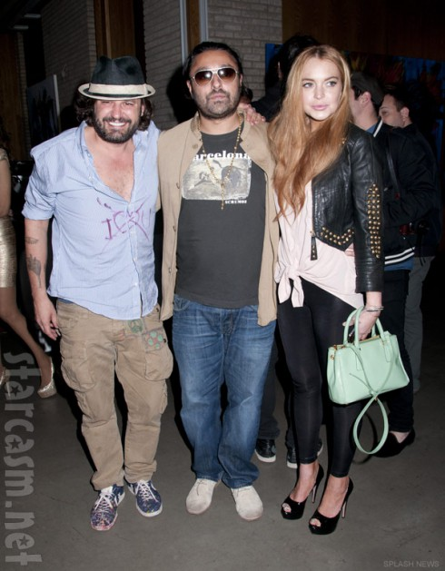 Artist Domingo Zapata with Lindsay Lohan