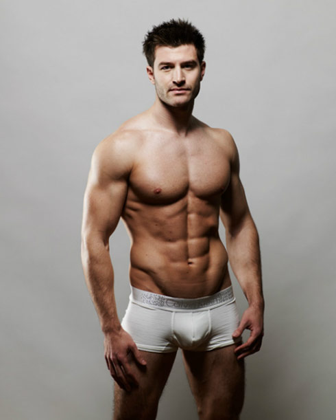Robert Walters modeling underwear