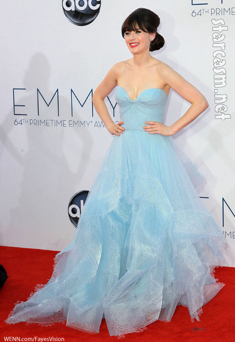 Zooey deschanel emmy awards 2012 blue dress New Girl
