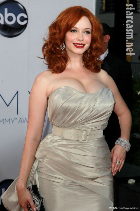 christina hendricks breasts 2012 emmy awards Christian Siriano gown Mad Men