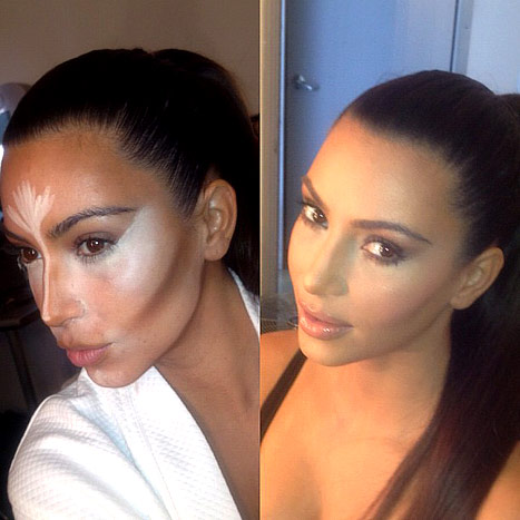 Kim Kardashian before and after 90-minute contouring makeup routine