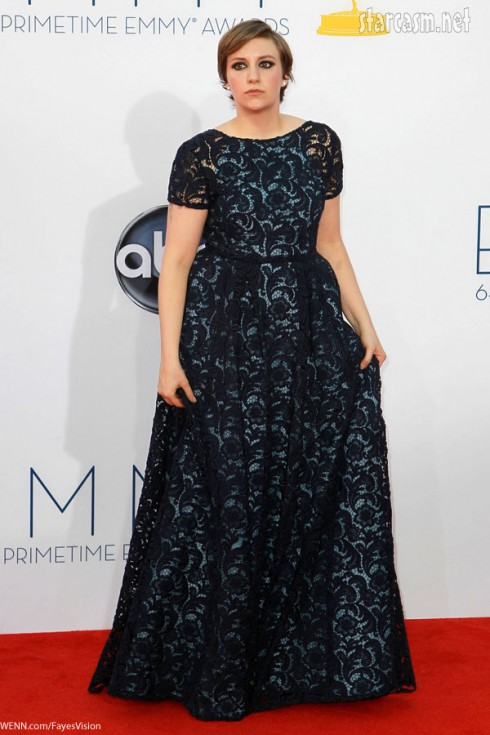 lena dunham 2012 emmy awards lace gown