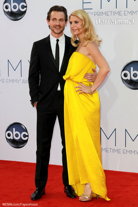 Claire Danes with husband Hugh Dancy in a yellow lanvin gown silk