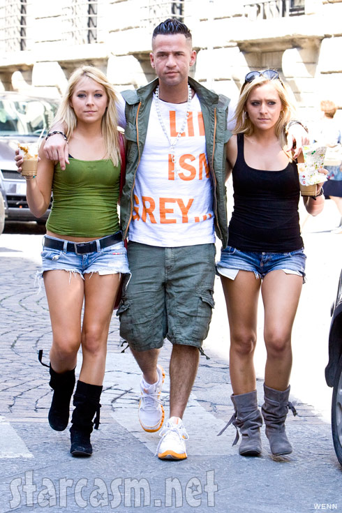 Brittany Taltos with her sister Erica and Mike &quot;The Situation&quot; Sorrentino in Italy filming scenes for 'Jersey Shore'