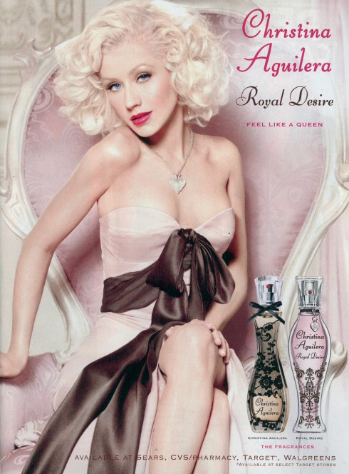 Christina Aguilera Photoshopped Royal Desire perfume ad photo