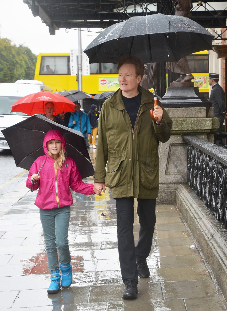 Conan O'brien with daughter Neve holding hands in Dublin