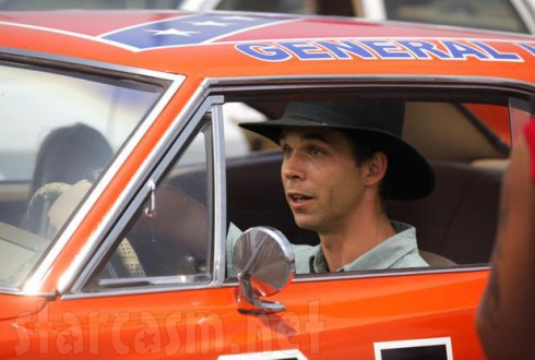 Jeremiah Raber from Breaking Amish driving the General Lee from Dukes of Hazzard