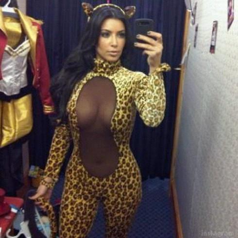 Kim Kardashian Halloween costume 2012 sexy see-thru leopard catsuit