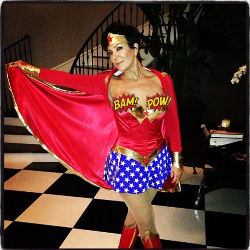 Kris Jenner Wonder Woman costume nip slip wardrobe malfunction photo