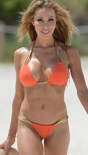 RHOM Lisa Hochstein in a bikini showing off her second breast augmentation surgery