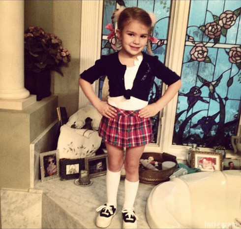 Maddie Spears dressed as Britney Spears from Baby One More Time video