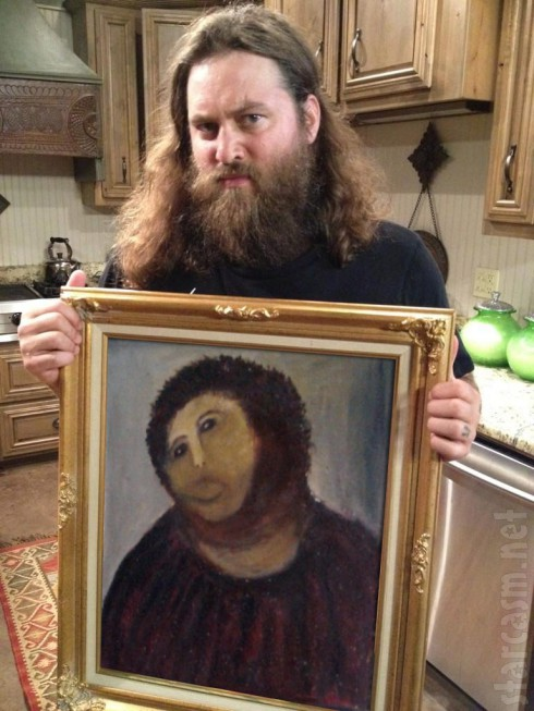 Duck Dynasty Willie Robertson doppleganger portrait gets the botched Jesus fresco restoration treatment