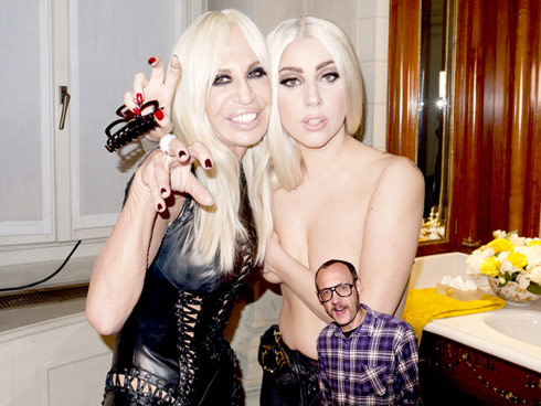 Unedited hi-res Lady Gaga topless photo with Donatella Versace taken by Terry Richardson