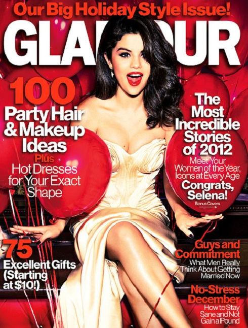 Selena Gomez on the cover of Glamour Magazine's Holiday Style Issue
