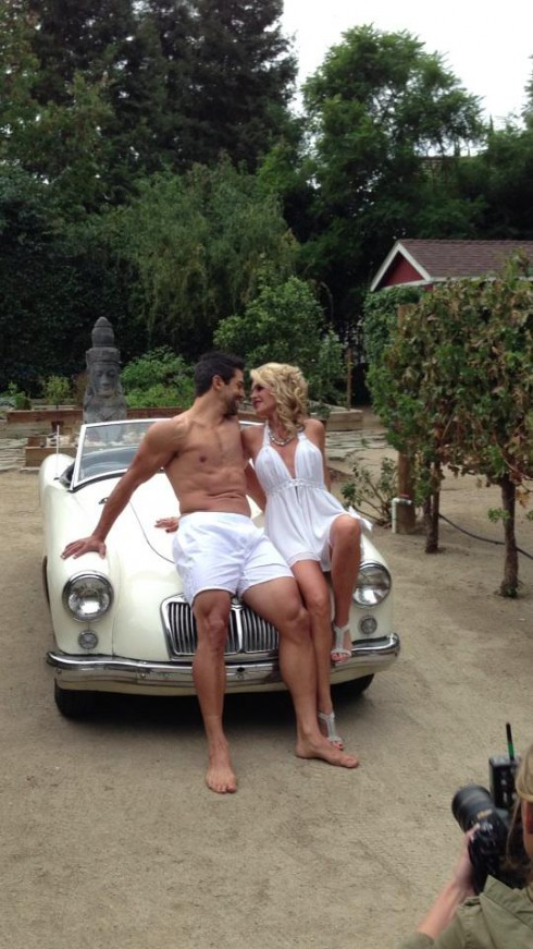 Eddie Judge and Tamra Barney topless photo celebrating their engagement and upcoming wedding