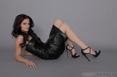 Breaking Amish Katie Stoltzfus modeling photo full-length