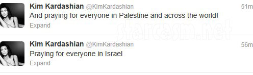 Kim Kardashian tweets Praying for everyone in Israel and praying for everyone in Palestine and across the world