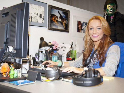 Maci Bookout working at the MTV offices in New York City