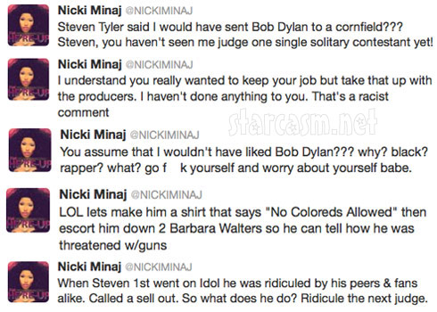 Nicki Minaj offended by Steven Tyler because of Bob Dylan comment